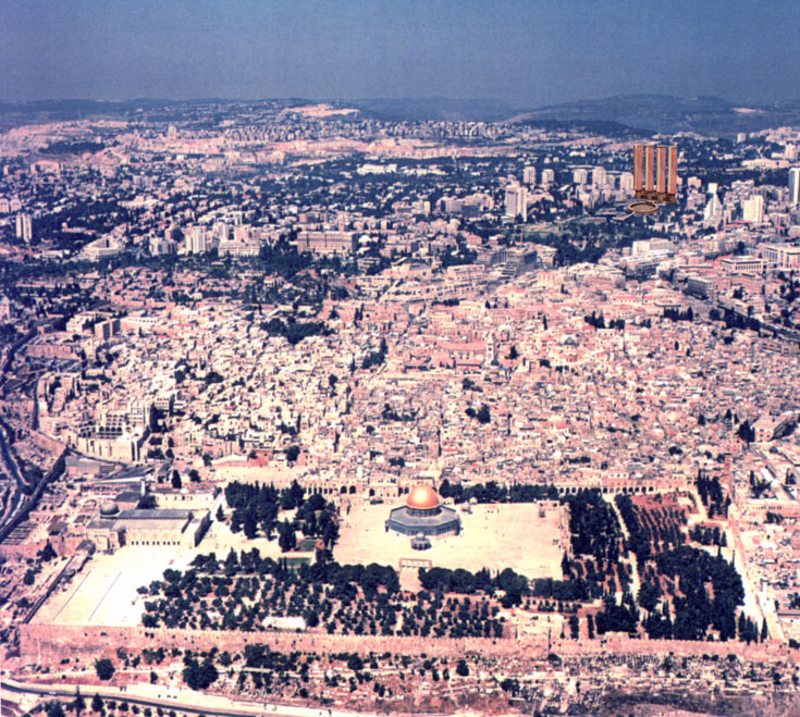 המבט מהעיר העתיקה אל המגדלים, אם יוקמו. כרמי נרגש מהסימטריה: גן העצמאות נמצא במרחק שווה מהעיר העתיקה וממשכן הכנסת ו''הסימטריה העניקה לירושלים את ממד השלמות'' (הדמיה: רם כרמי אדריכלים)