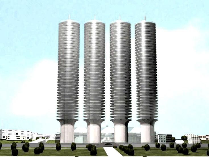 ארבעת המגדלים במבט מקרוב. נמוכים יותר ממגדל 70 הקומות, אך ארבעה במספר (הדמיה: רם כרמי אדריכלים)