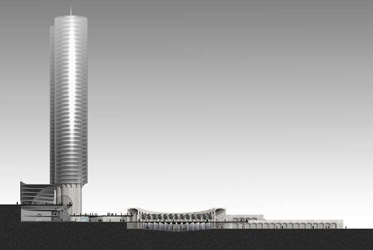 הדמיית ''מרכז היקום', בגרסה שבה 4 מגדלים מחליפים את המגדל היחיד. כרמי חולם על שדרת חנויות גדולה יותר מוויטוריו עמנואלה במילאנו, והיא תסתיים בכיכר שתתחבר לגן העצמאות (הדמיה: רם כרמי אדריכלים)