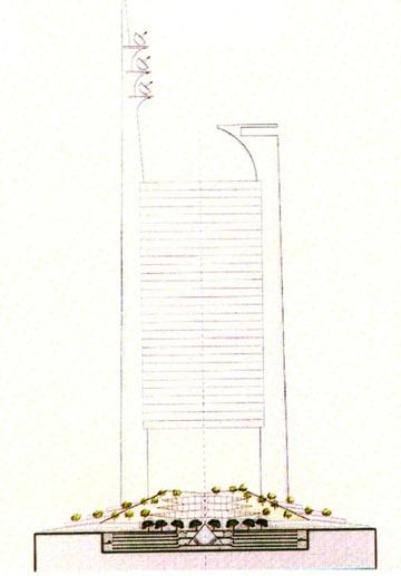 המגדל (''שער''). 70 קומות, 10 הראשונות הן חלל פתוח (הדמיה: רם כרמי אדריכלים)