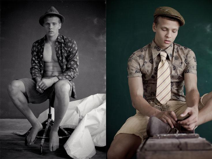 מימין: מכנסיים וחולצה, אובססיה; עניבה, דויד ששון; נעליים, H&M; כובע, Gap. משמאל: חולצה, אובססיה; מכנסיים, H&M; כובע, Gap (צילום: אסף עיני )