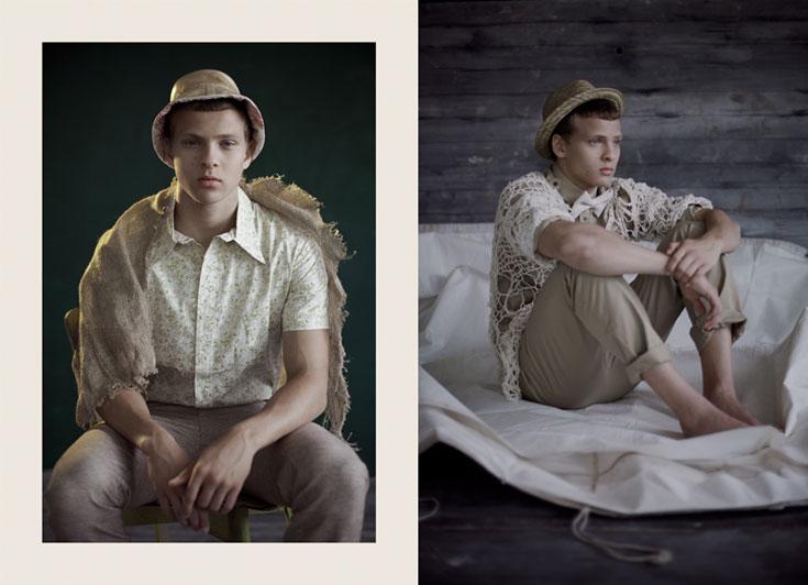 מימין: עליונית סרוגה, שרון ברונשר; עניבת פפיון, דויד ששון; כובע, Gap. משמאל: חולצה, דויד ששון; מכנסיים, H&M; כובע, שי שלום (צילום: אסף עיני )