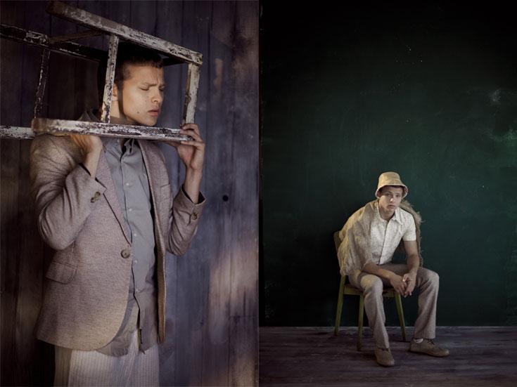 מימין: חולצה, דויד ששון; מכנסיים, H&M; כובע, שי שלום. משמאל: מכנסיים, אמריקן אפרל; חולצה, דויד ששון; נעליים, Vans; ז'קט, דורון אשכנזי (צילום: אסף עיני )