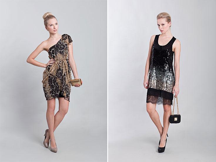 מימין: BCBG ב-800 שקל, משמאל: אליס ואוליביה ב-500 שקל. שמלות ערב ממותגות במחירים נגישים (צילום: טל טרי)