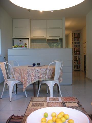דירה קטנה בתכנון לימור רוזנר מוג'ה וגילת בלום מ-ROSE & BLOOM . שימוש בארונות דו צדדיים פותר בעיות אחסון, שהן תמיד סוגייה בחללים קטנים (צילום: נדב סלמון )