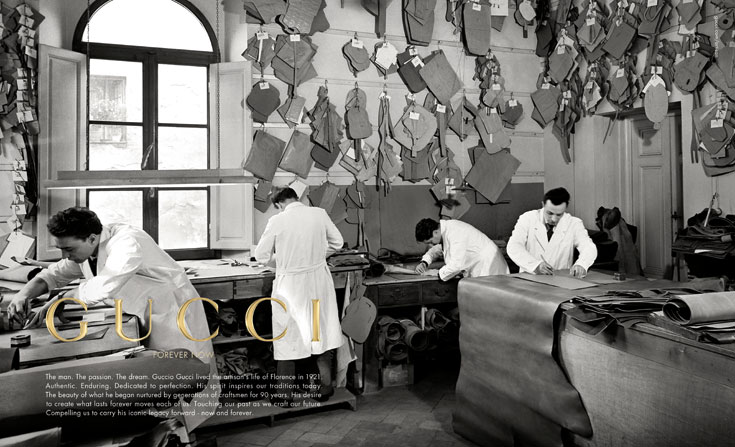 קמפיין עבר של גוצ'י. נוסד כעסק משפחתי קטן ב-1921