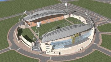 כך ייראה האצטדיון עם פתיחת שלב א'. הדמיה (הדמיה: gab architecture)