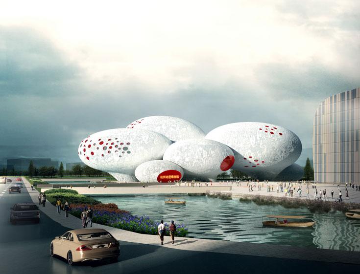 הדמיית המוזיאון שנבנה בהנגז'או. לדברי האדריכל יאקוב ואן רייס, סין מתעתדת להפוך את המחוז לבירת האנימציה (באדיבות MVRDV)