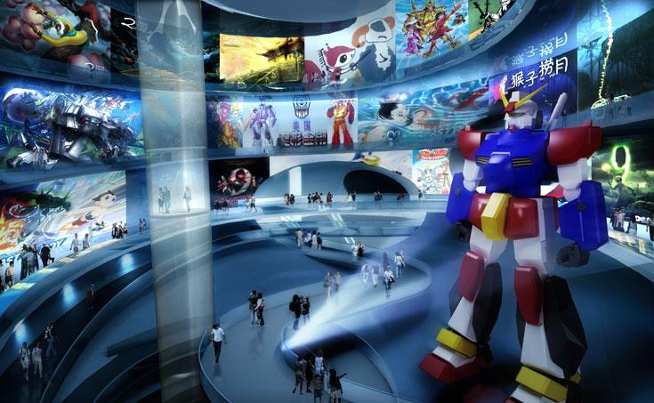 אחד החללים הפנימיים במוזיאון העתידי. התכנון מאפשר גמישות בעתיד, לפי צרכים משתנים: בועות יכולות להתוסף, או לשנות ייעוד (באדיבות MVRDV)