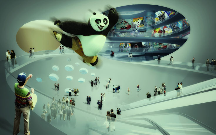 האם זה העתיד? סין, לדברי האדריכל, מאסה בתפקידה כיצרנית מרצ'נדייזינג לסרטים האמריקאיים, והיא רוצה לעשות אותם בעצמה (באדיבות MVRDV)