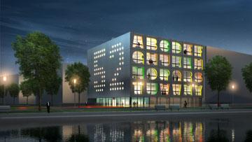 בניין האלפבית, אמסטרדם. אותיות בחזיתות (באדיבות MVRDV)