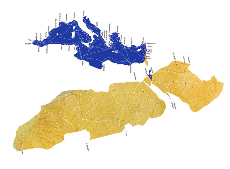 הים התיכון בכחול, צפון אפריקה וחצי האי ערב בצהוב, וישראל תקועה במרחב מבלי להשתלב. להבין את המגע עם הים התיכון כהזדמנות, ולא כגבול מערבי
