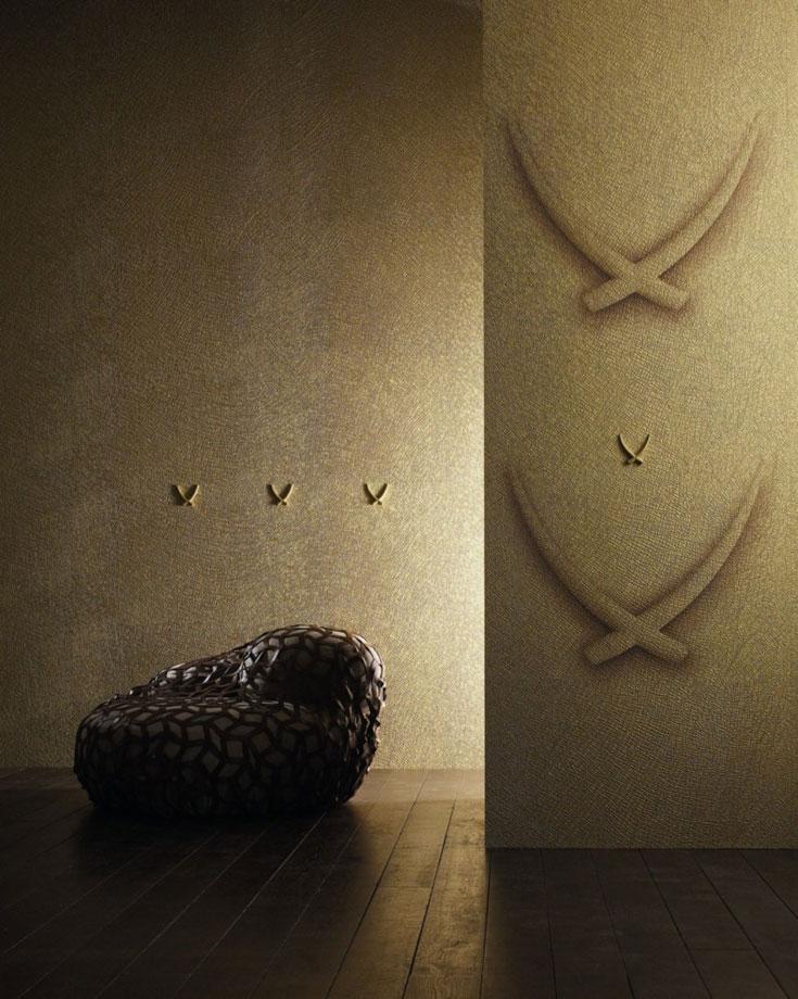 טפט בעיצוב לואיג'י קולאני עבור מותג חיפויי הקיר MARBURG, בהשראת פילים אפריקאים. הטפטים, שקיימים בגוני זהב, ארגמן וכסף, מדמים עור פיל אמיתי. גולדשטיין גלרי טפט (צילום: לוק ריינסן)