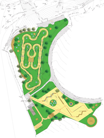 כך נראה המסלול: החלק העליון הוא מסלול הפאמפטרק המעגלי, והחלק התחתון הוא המסלול הטכני של גשרוני-עץ ומקפצות (צילום: אמית הרמן)