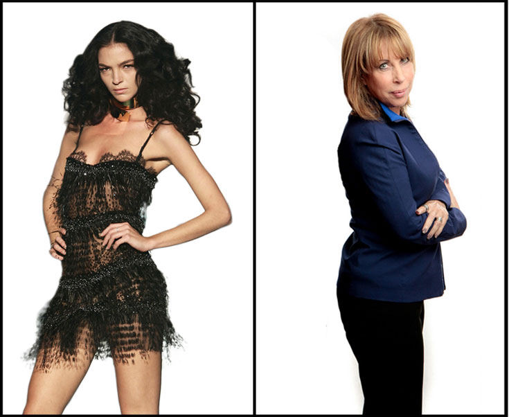''אנס לא הולך לכל אחת'', תמי לנצוט ליבוביץ', מימין. משמאל: דוגמנית בשמלת מיני של רוברטו קוואלי (צילום: gettyimages)