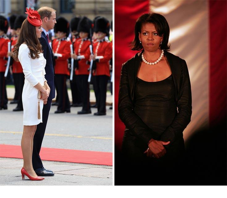 מימין: מישל אובמה, הגברת הראשונה של ארצות הברית, משתדלת לשרת את הדגל. משמאל: הנסיכה הטרייה קייט מידלטון. נוהגת להביע מחויבות לארצה בבגדיה (צילום: gettyimages)