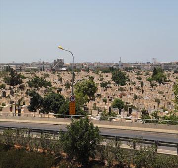 זה, להבדיל, מה שתראו מתחנת הקוממיות: בית הקברות חולון (צילום: אמית הרמן)