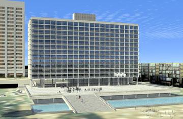 כל חזית צריכה להיות הייטקית כרגע. בניין העירייה העתידי (הדמיה: ליואי דבוריינסקי אדריכלים)