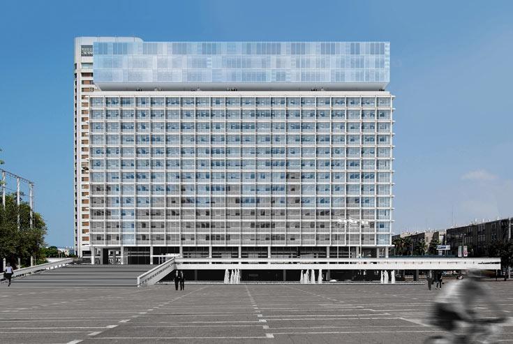 הדמיה של תוספת קומות לבניין, בתכנון האדריכל אסף לרמן. גם הרעיון הזה נגנז לפני כשנה וחצי (צילום: עמית גרון)