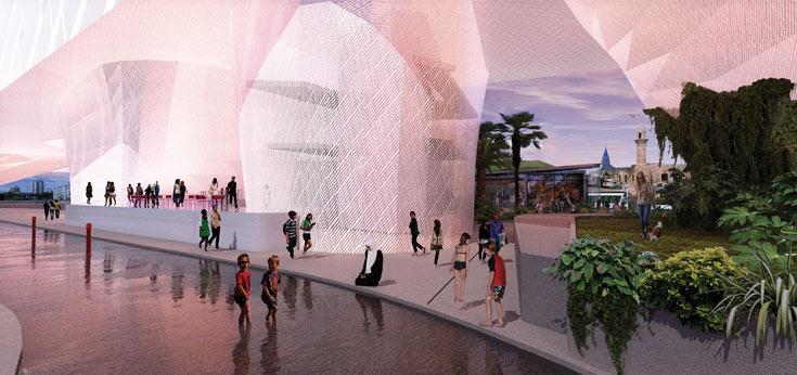 העבר של רמלה מוזנח, ואינו מתחבר לעיר החדשה שנבנית שם לגובה. הפרויקט של אזולאי ושטרן משלב פתרונות מים ומתייחס לסביבה העתיקה של העיר (באדיבות בצלאל)