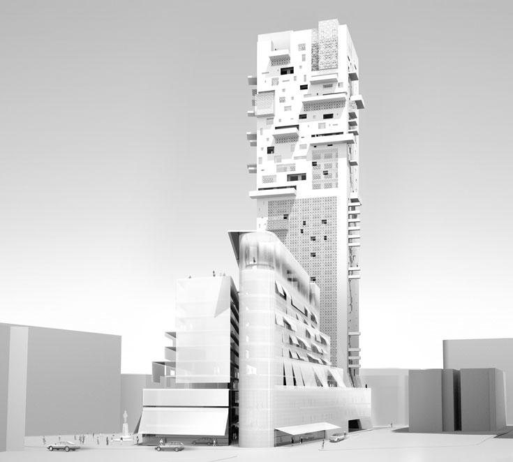 ''לנדמארק'' של ז'אן נובל - מלון מפואר ובית דירות יוקרה. כפי שניתן להבין משמו, הוא מתיימר להוות ציון-דרך בעיר (הדמיה: Ateliers Jean Nouvel)