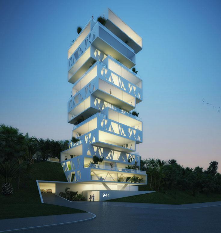 הקובייה ההולנדית. שיתוף פעולה בין 3 משרדים הולנדיים, בצורת 50 קוביות מלבניות המונחות סביב ציר מרכזי (הדמיה: Orange Architects)