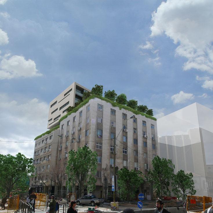מתוך הפרויקטים של המשרד שנמצאים בעבודה: בניין משרדים ברחוב יפו בירושלים, שזוכה לתוספת חדשה על הגג (הדמיה: סטודיו  o2a)