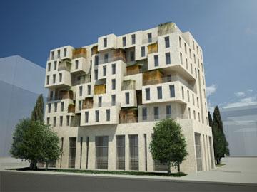 בניין מגורים לאוכלוסייה דתית ברחוב יפו בירושלים. הסוכות נלקחות בחשבון (הדמיה: סטודיו  o2a)