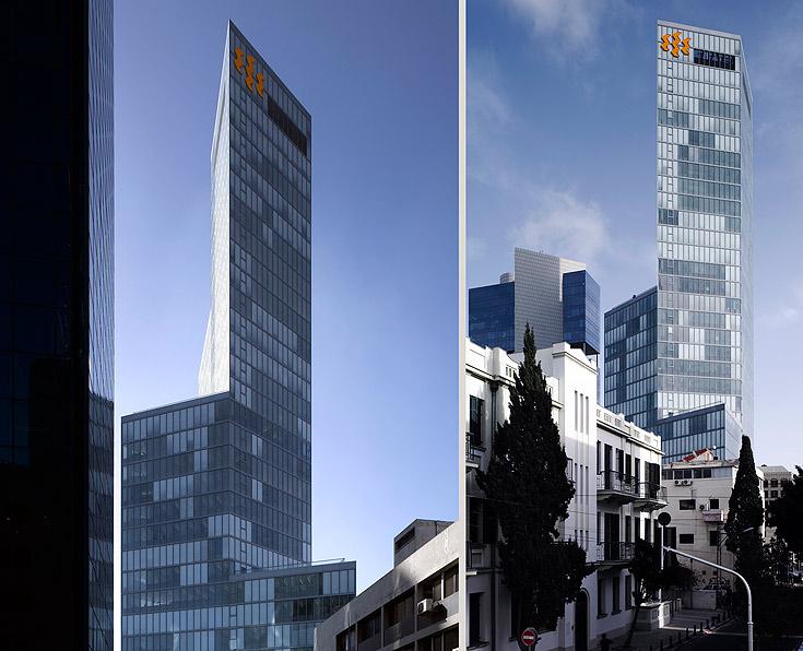 מגדל הבינלאומי בתל אביב. חמש פריזמות של משולש שווה צלעות (צילום: עמית גרון)