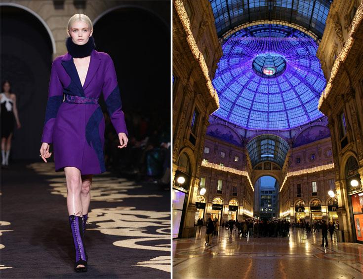 חנויות במילאנו (מימין) ותצוגת האופנה של ורסאצ'ה לסתיו-חורף 2011-2012. גן עדן לשופינג, בהנחה שכרטיס האשראי שלכם צבוע לכל הפחות זהב (צילום: gettyimages)