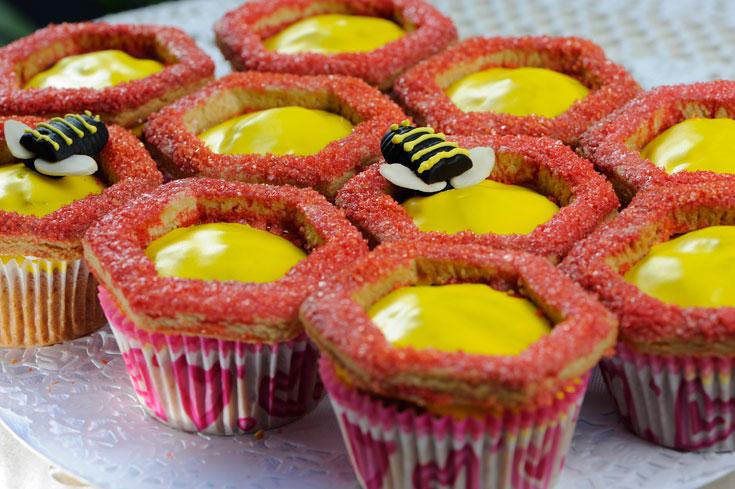 מלמעלה למטה, בכיוון הכרסום: דבורה, עוגיות חמאה ודבש וקאפקייקס דבש (צילום: דודו אזולאי)