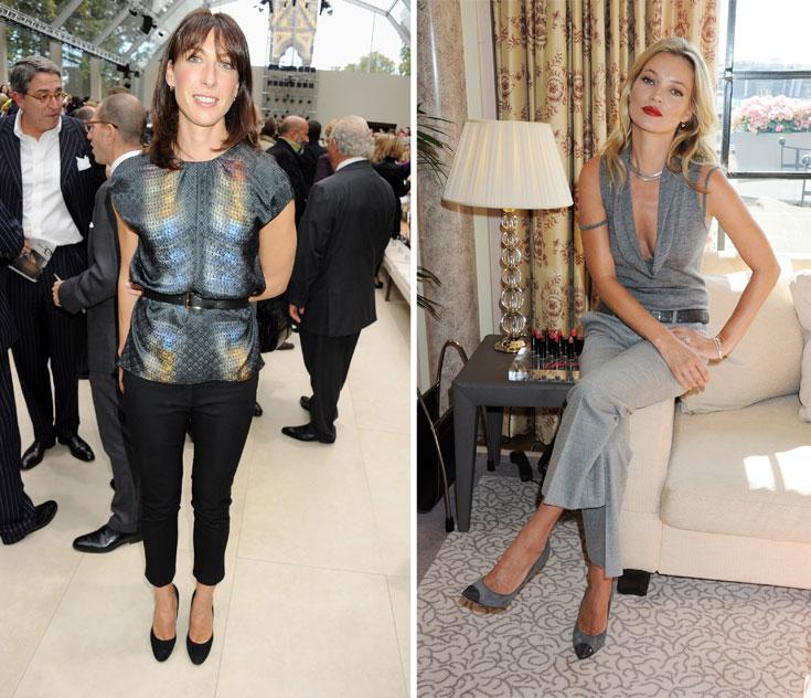 קייט מוס (מימין) וסמנתה קמרון. הנשים החשובות של הממלכה המאוחדת מקפידות להופיע לשבוע האופנה (צילום: gettyimages)