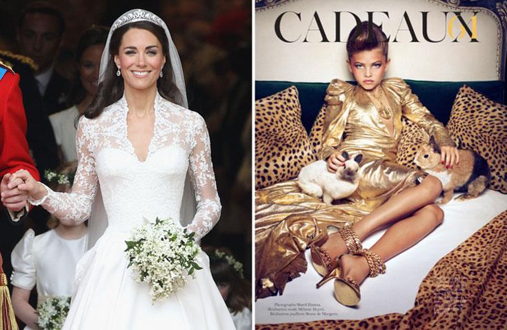 העוקץ: תיילן בלונדו בהפקת האופנה בווג פריז. הדבש: קייט מידלטון ביום חתונתה