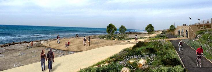פארק שקמונה בחיפה, יחיד מסוגו בישראל, משלב טיפוח של צמחייה חופית ואמור להתחבר בשבילי הליכה ואופניים לחוף שקמונה (הדמיה: גרינשטיין הר-גיל)