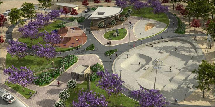 הפארק האתגרי שייחנך בעכו יכלול קירות טיפוס ומתקן באנג'י, התחשבות בבעלי צרכים מיוחדים, אמפיתיאטרון ומשטחי החלקה (הדמיה: מידד גנדלר)