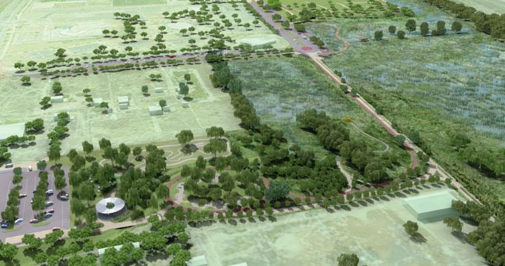 השלב השני של פארק הרצליה, על שטח של 180 דונם, מדגיש את המערכות האקולוגית ובעתיד יגיעו לכאן מי ניקוז הגשמים מרחבי העיר (הדמיה: משרד אדריכלים אהרונסון )