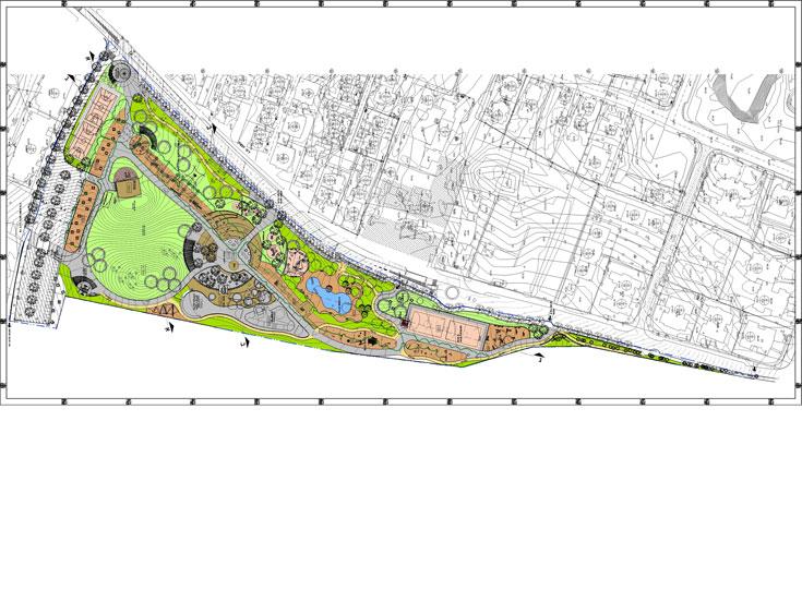 התוכנית של הפארק ברמת השרון. שימור של 350 אקליפטוסים ותיקים ליצירת שדרה ארוכה, עם פעילויות שונות ובריכה אקולוגית (תכנון: קו בנוף - אדריכלות נוף)