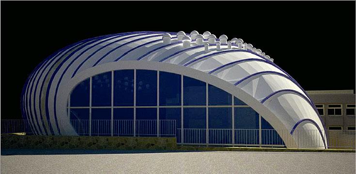 אולם הספורט בבית הספר צאלים באילת. צורתו העתידנית הכניסה אותו לסקירה השנתית של ערוץ האדריכלות (באדיבות עיריית אילת)