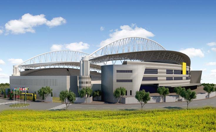 אחרי שאיקאה תיפתח מחדש, גם הוא ייפתח: האצטדיון החדש של נתניה, שגם רוצה להתחרות בפארק הירקון על מופעי ענק (הדמייה: גיל טייכמן מערכות עיצוב תאורה סטודיו תלת מימד ARCreative)