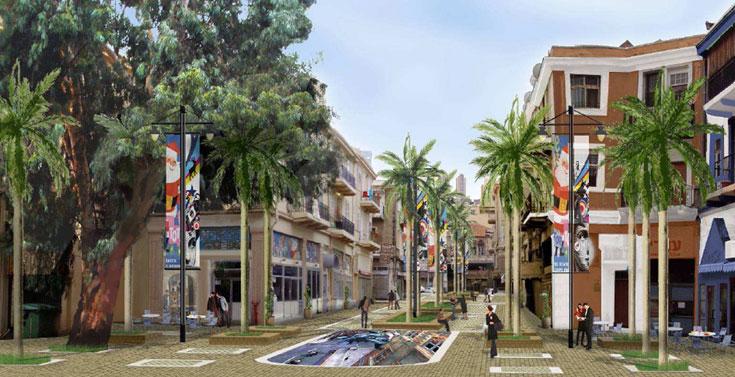 השוק התורכי של חיפה. חידושו נעשה במסגרת התעוררות העיר התחתית, תוך ניסיון להביא סטודנטים לאזור ולייפות את הבניינים הישנים (הדמיה: רן וולף תכנון אורבני)