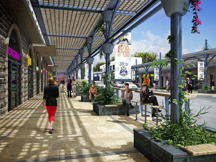 רחוב הגליל בטבריה. ניסיון להציל את העיר העתיקה, שהייתה פנינה היסטורית שהושחתה, בין השאר באמצעות הרחוב המקורה הזה (הדמיה: עדנה ישי וילסון )