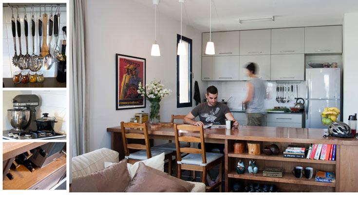 וכך זה נראה במבט מהסלון אל המטבח, והרהיט החוצץ-מחבר בין השניים (צילום: גידי בועז)