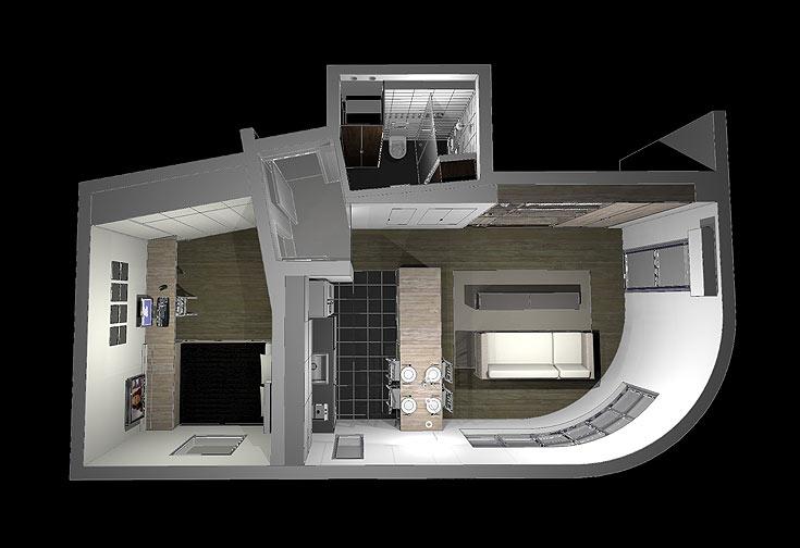 הדמיות הדירה. חדר השינה-עבודה משמאל, החלל המרכזי מימין, וחלל הרחצה הסמוך לדלת הכניסה