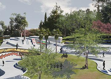 הסקייטפארק בגן הפעמון בירושלים (הדמיה: קו-בנוף אדריכלות נוף בע''מ)