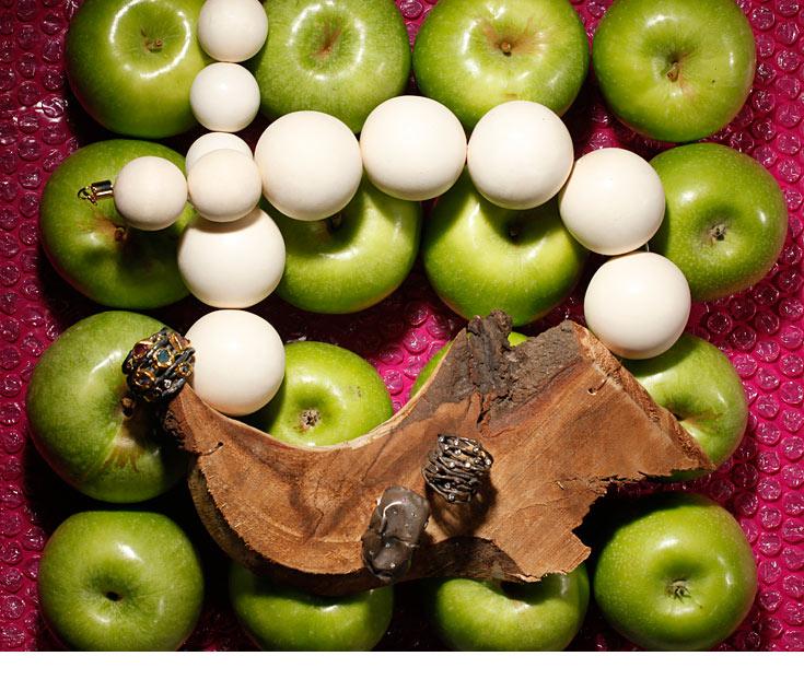 תפוח עץ. שרשרת, נוריתמי; טבעות, בועז קאשי (צילום: כפיר זיו )