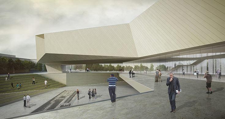 הדמיית הפרויקט, בתכנונם של האדריכלים ברכה ומיכאל חיוטין. הם יתפטרו, וידרשו פיצויים אם ייעשה שימוש בעבודה שלהם (הדמיה: חיוטין אדריכלים)