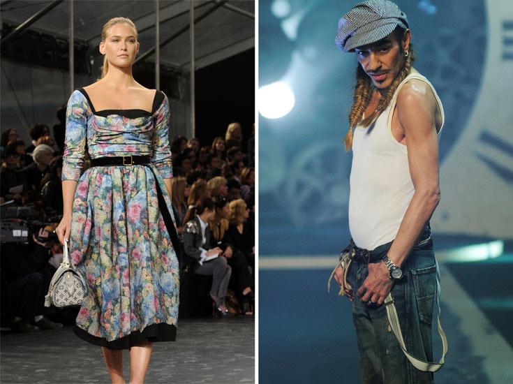 ג'ון גליאנו (מימין) ובר רפאלי. הוא הפך לסמל של תוצאות הקצב הלא אנושי של תעשיית האופנה, והיא ממשיכה לקדם את מודל האישה עם הפרונט (צילום: gettyimages)