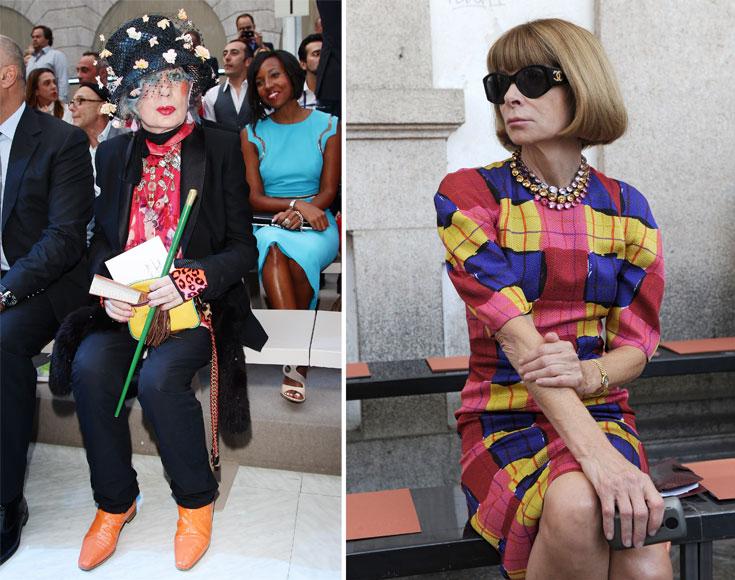 אנה ווינטור (מימין) מפגינה טעם רע למרות מעמדה הרם בתעשייה האופנה, בעוד אנה פיאג'י נראית טוב יותר ככל שהיא בוחרת בבגדים מוגזמים יותר (צילום: gettyimages)