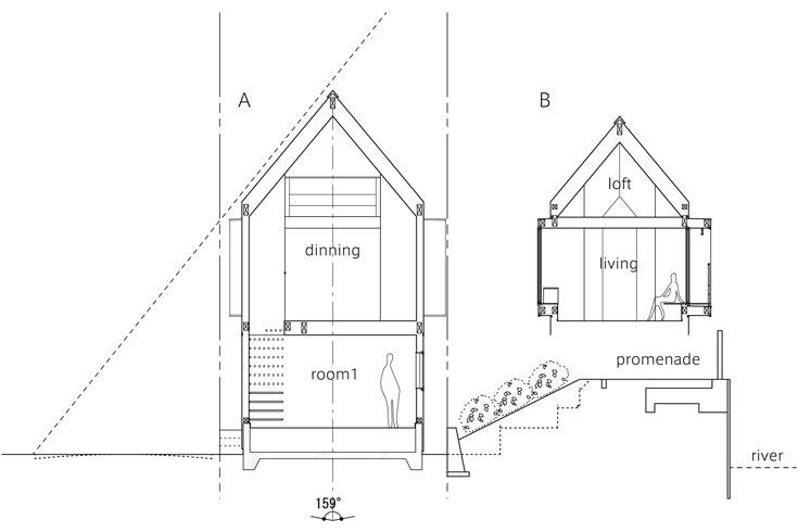 התוכנית וחלוקת החללים. מיזואישי מציע לא להעניק שמות לחדרים, ''כי אז אתם מגבילים את השימוש בכל אחד מהם'' (שירטוט: kota mizuishi / mizuishi architect atelier)