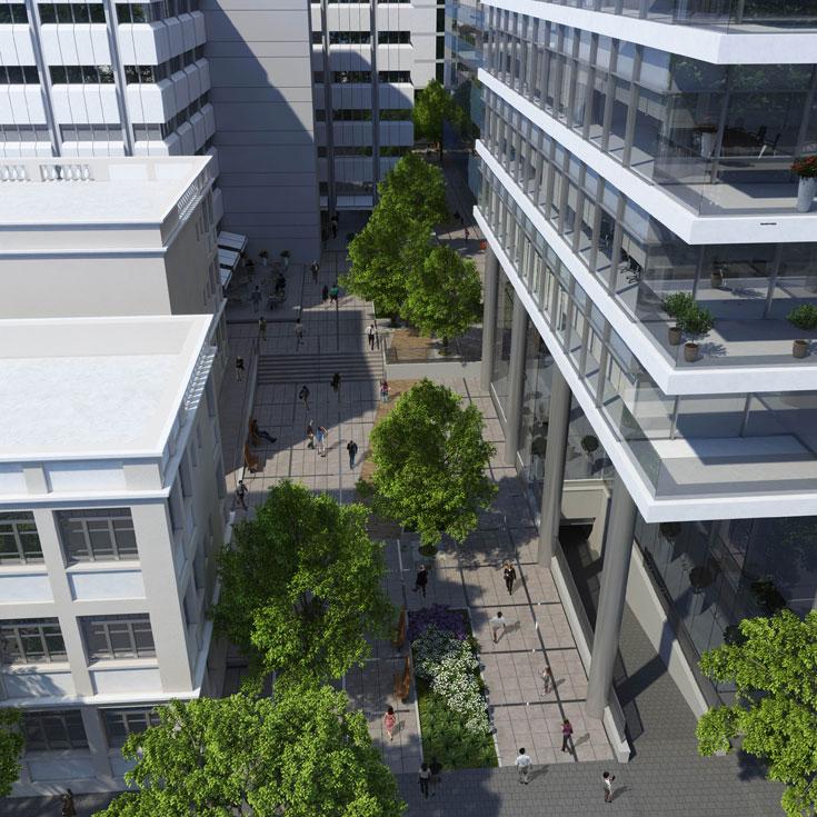 והפרויקט העתידי: המתחם החדש של רוטשילד-אחד העם בתל אביב, על חורבות הבורסה הנוכחית. זה יהיה בלוק עירוני שלם במרכז העיר, עם שדרת עצים וגינת-כיס (הדמיה: דן צור וליאור וולף אדריכלי נוף)